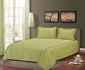 """Cloth Fusion Prima Checkered 300TC Bed Cover with 2 Pillow Cover- Double (90""""X100""""),Pista Green"""