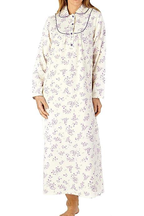 kleine Blume Druck 200GSM 100/% weich geb/ürstet Flanell Baumwolle lang/ärmelige Nachthemd Slenderella Damen 51//129cm lang