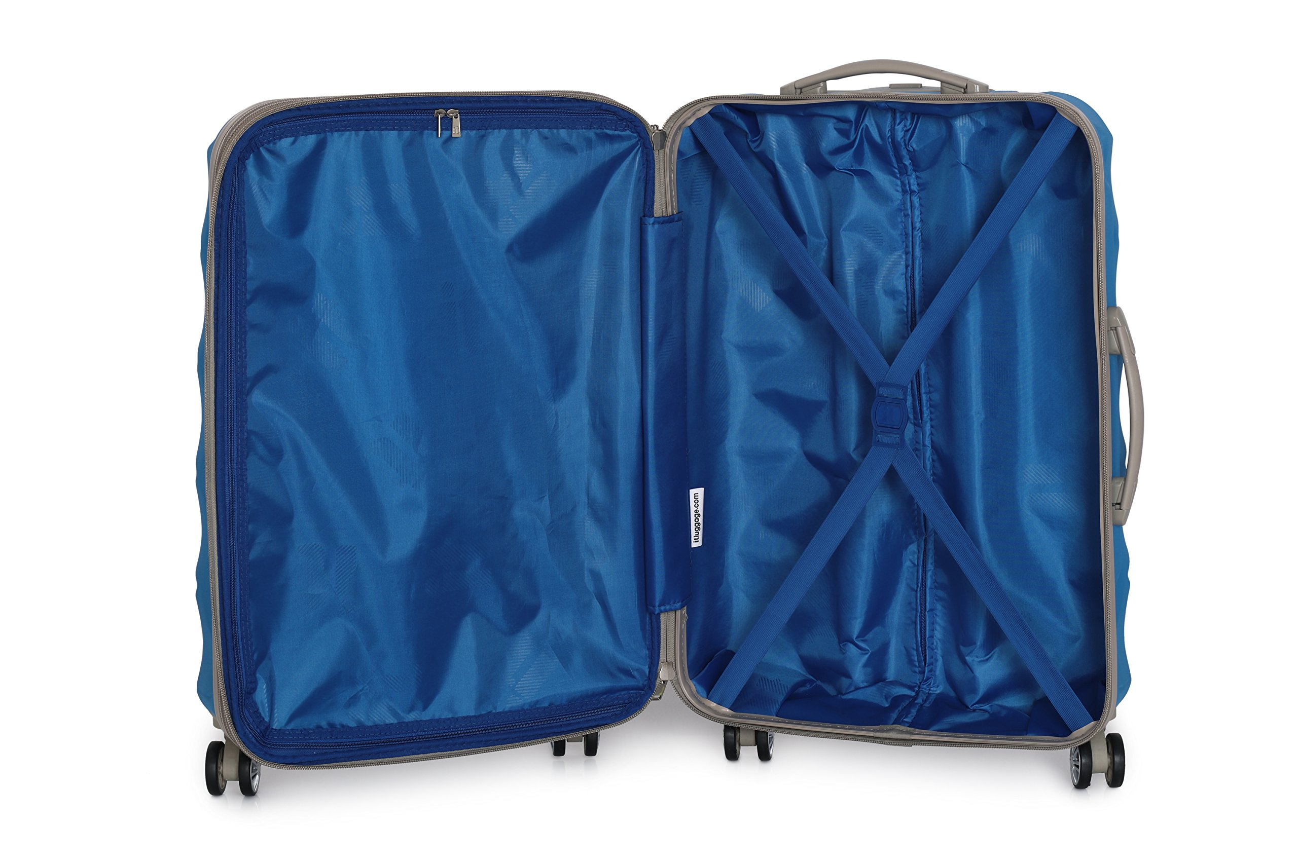 59591ecce351 it luggage 3 Piece Set of Debossed Diamond 8 Wheel Hard Shell Single  Expander Suitcases with