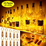 Ariceleo Luci Bottiglia, 10 Pezzi 20 LED 2 Metro a Batteria Rame Filo Set Vino Bottiglia Tappo Stringa Luci con Sughero…