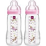 MAM 99950501 Easy Active Biberon da 330 ml, Confezione Doppia, età 4+ mesi, colore Rosa
