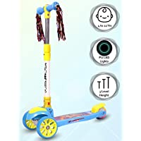 Little Olive Munchkin Scooter for Kids of 3+ Years 3 Adjustable Height, Foldable, LED PU Wheels Kids Scooter with Brakes…