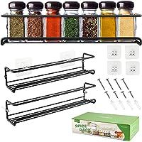 DazSpirit Porte-épices en métal Support de rangement mural à épices Étagère de cuisine longue auto-adhésive pour…