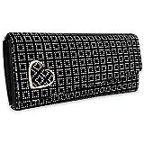 ALSU Women's Black Hand Clutch Wallet Purse_GDU-011BW