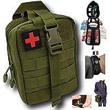 Trousse de premiers secours verte tactique Assemblée en FRANCE kit complet avec bracelet paracorde de survie + 2 tire tiques