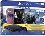 PS4 1TB Slim console (Free Games : Detroit /The Last of Us/God of War/Fortnight Voucher /PSN 3 Month Inside the Box