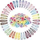 Canvalite - Set di fermagli ed elastici per capelli, 40 fermagli, 100 elastici, per bambine, con scatola