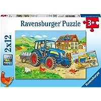 Ravensburger- 2 Puzzles de 12 pièces Chantier et Ferme Enfant, 4005556076161, Vert