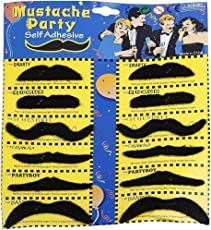 HK Balloons Self Adhesive Fake Moustache Set, Assorted (12 Pieces)