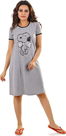 HRIDAY FASHION Women's Knitted Cotton Snoopy Cartoon Print Short Nighty/ Night Wear/Knee Length Lounge Wear (Rose Pink)
