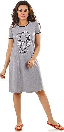 HRIDAY FASHION Women's Knitted Cotton Snoopy Cartoon Print Short Nighty/ Night Wear/Knee Length Lounge Wear (Rose Pink)