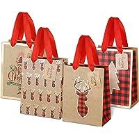 LIHAO 12 Stück Geschenktüten Weihnachten Präsenttüten mit Griff Kraftpapier Papiertüten Weihnachtstüten für…
