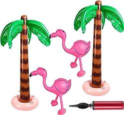 FEPITO 4 Pack Aufblasbare Palmen Rosa Aufblasbare Flamingos Spielzeug für Luau Party Dekoration