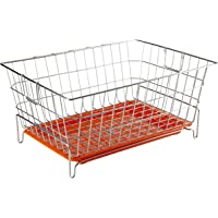 Embassy Dish Draining Basket/Kuda with Drip Tray, Rectangle, 53x42x25 cms (LxBxH), Size - Small (Pack of 1, Stainless Steel)