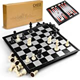 Gibot 3-i-1 schackbrädesset, 31,5 cm x 31,5 cm magnetiskt schackbräde med schack, schackschackrutor, backgammon för barn och