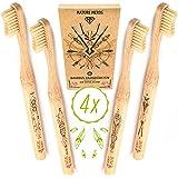 Nature Nerds - Bambus Zahnbürste im Set (4er Pack) aus nachhaltig angebauten Bambus / 100% Vegan, 100% BPA-frei >> Härtegrad: Mittel