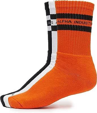 ALPHA INDUSTRIES Men Socks 3 Pack Stripes Orange 36-40