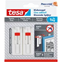 tesa Verstellbarer Klebenagel (für Tapeten und Putz 1 kg, Höhenverstellbarer, selbstklebender Wandnagel, bis zu 1 kg…