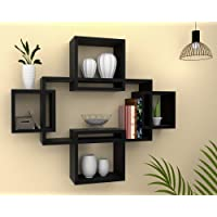 Vudy Exclusively Designed Wall Shelf with 5 intersecting Decorative Living Room Shelves (Black)