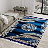Vram Carpet (Sky Blue, Velvet, 5 x 7 Feet)