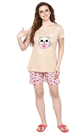 Evolove Boring Beige Round Neck Space & Cat Printed Women's (Shorts Set), (Beige & Pink) Get Free Eyemask Inside of Any Design