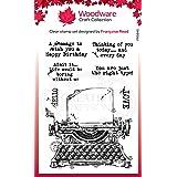 Woodware Tampon Encreur Singles Vintage Typewriter - Tampon en Photopolymère Transparent, Socle en Acrylique - Accessoire pou