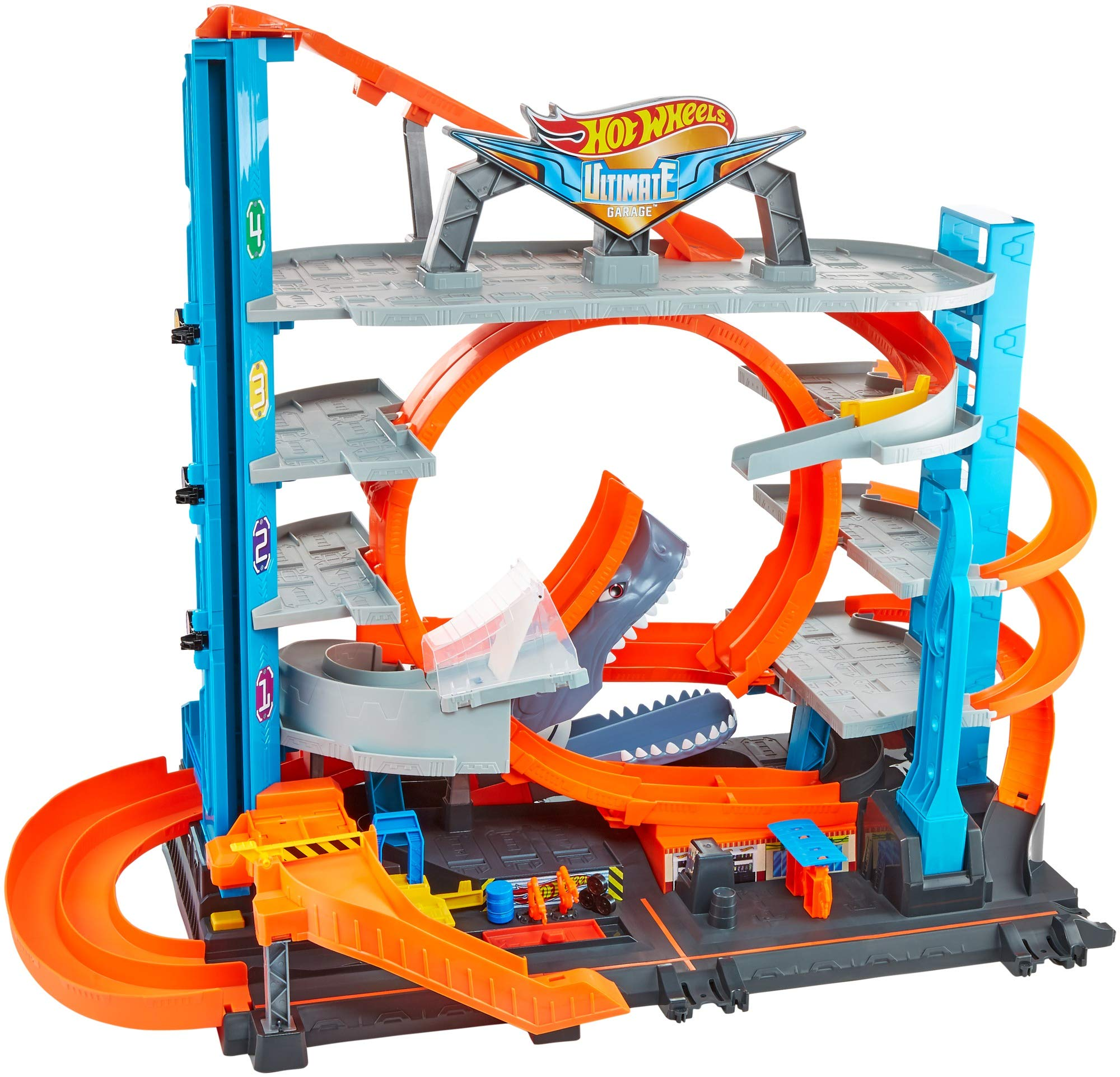 Hot Wheels FTB69 - City Ultimate Parkgarage und Parkhaus für Kinder, Garage mit Hai für +90 Autos, mit Looping Tracks…