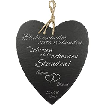 Amazon De Casa Vivente Schieferherz Mit Gravur Zur Hochzeit