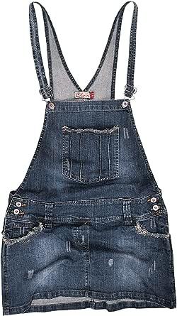 Clove Women Dungarees Mini Skirt Frayed Antique Look Denim Size 8-22