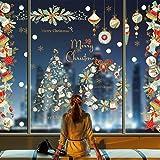 Yuson Girl Navidad Vinilos para Ventanas PapaNoelNavidad Elk Muñeco de Nieve Oso PVC Pegatinas Estáticas Se Puede Reutiliza