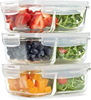 Fit & Fresh Divided Glass Container, Set of 3, Airtight Seal, Meal Prep, Portion Control