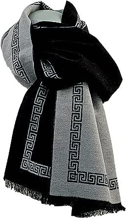 Pietro Baldini - Sciarpa di seta da uomo con doppia faccia, bicolore, colore: grigio chiaro