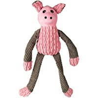Goofy Tails Long Leg Pig Squeaky Dog Toy| Crinkle with Rope Plush Toy for Dogs (Small/Medium)(Pink/Grey)