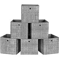 SONGMICS Boîte de Rangement, Lot de 6, Panier, en Tissu Non-Tissé, Coffret de Rangement pour Jouets, Gris Chiné RFB02LG…