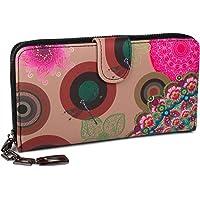 styleBREAKER portafogli con fiori e etnici e design colorato, design vintage, chiusura con cerniera, portamonete, donna…