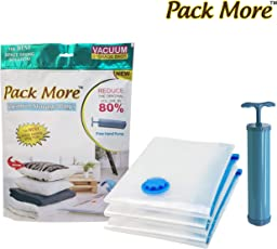 Pack More Space Saver Vacuum Seal Storage Pack Bags - Works With Any Vacuum Cleaner. Compression Bags For Travel Clothes, Linens, Duvets, Blankets, Bedding Pillows, Home Clothes Storage | Double-Zip Seal And Triple Seal Turbo-Valve | For 80% More Compression! With Free Hand-Pump For Travel