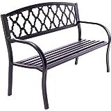 Nexos Gartenbank Parkbank Terrassen-Bank Veranda-Bank 128x50x87 cm 3-Sitzer Metall-Bank Sitzbank Gartenmöbel – Farbe: grau