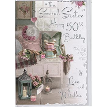 Sister 50th Happy Birthday Card Lots Of Love To The Best Sister In