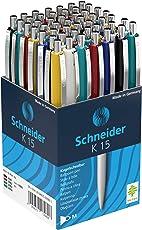 50 Schneider Kugelschreiber K15 / Schreibfarbe blau/Gehäusefarbe farbsortiert
