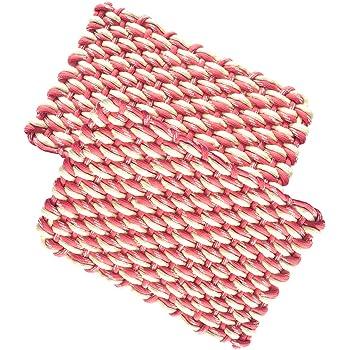 "Warmland Solid 2 Piece Polycotton Mat Set - 14""x21"", Red"