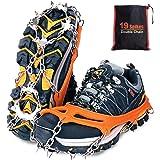 Tevlaphee Is snö grepp, kramponger dragkraft snögrepp för stövlar skor kvinnor män barn halkskydd 19 rostfritt stål spikar sä