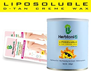 HerbtoniQ Liposoluble D-TAN Creme Wax 800 Grams With 100 Medium Size (9x3 Inch) Wax Strips
