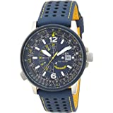 CITIZEN Mens Solar Powered Watch, Analog Display and Leather Strap - BJ7007-02L