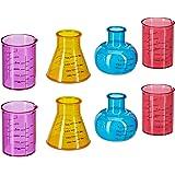Relaxdays Shotglazen Chemie, grappige borrelglazen in set van 8, 4 cl, origineel laboratoriumglas, kunststof, meerkleurig