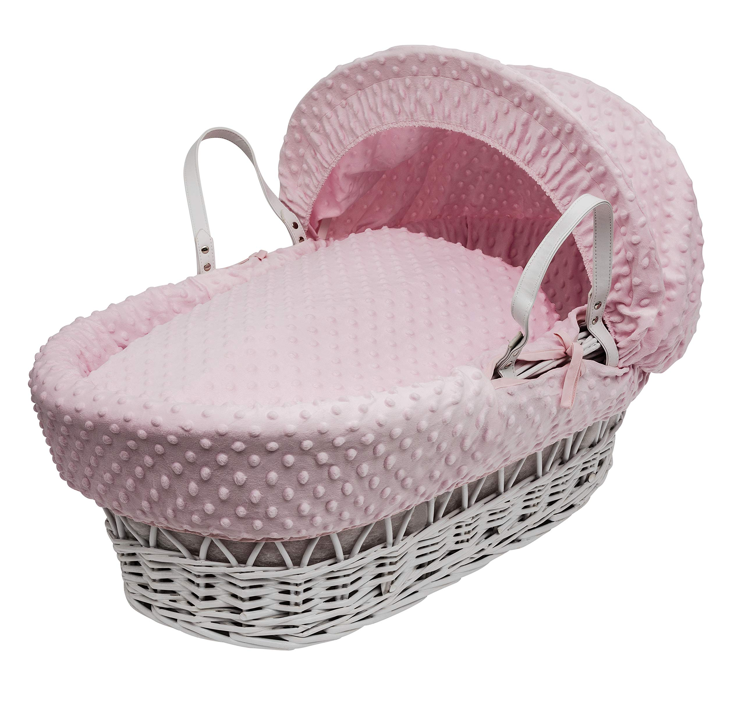 Pink Dimple Moses Basket Dressings only(Basket not included) Elegant Baby Dressings For Moses Baskets Includes Padding,Quilt, Liner,Fabric Hood Basket and Mattress and Hood bars are NOT included 1