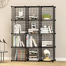 House of Quirk Stainless Steel Storage Organizer, Black (12CUBE_Iron_CAB)