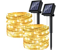 [2P]Ruyilam Guirnaldas Luces Exterior Solar, 12M 120 LED Guirnaldas Luminosas Decoración, Cadena de Luces Decorativas Imperme