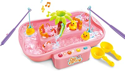 Toyshine Fish Catching Game with Fishes, Ducks, Music, Melodies and Lights, Pink