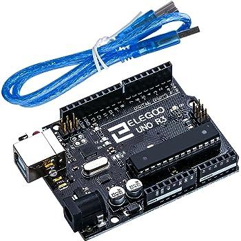 Elegoo Carte Arduino UNO R3 ATmega328P ATMEGA16U2 Controller Board Microcontrôleur avec Câble USB Bleu pour Arduino