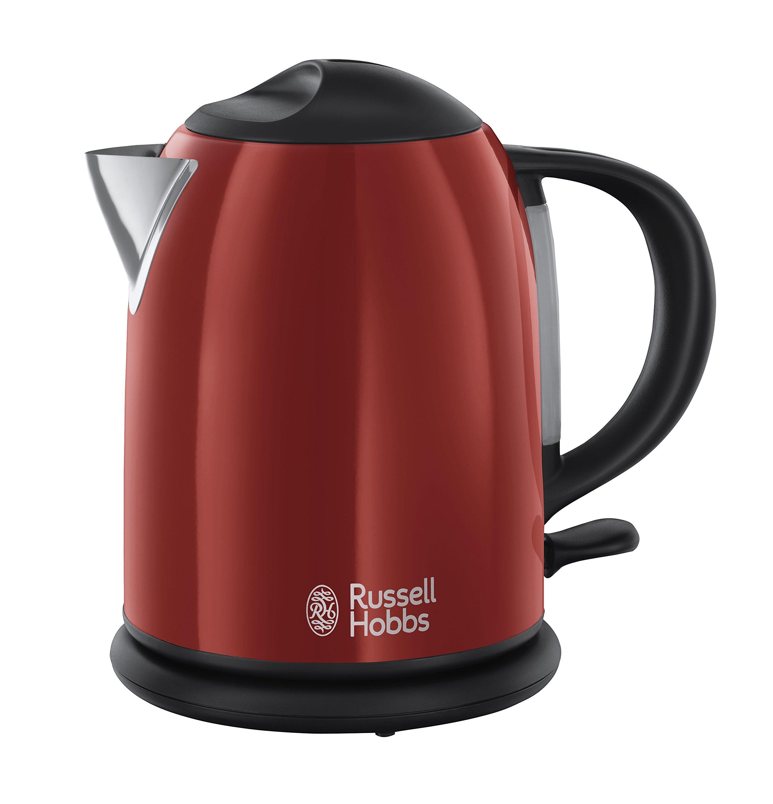 Russell Hobbs Colours Red – Hervidor de agua compacto, 1L, resistencia oculta, 2200 W, acero inoxidable color rojo – ref. 20191-70